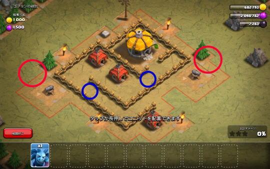 ゴブリンの砲台(ステージ5)ユニットを出す場所